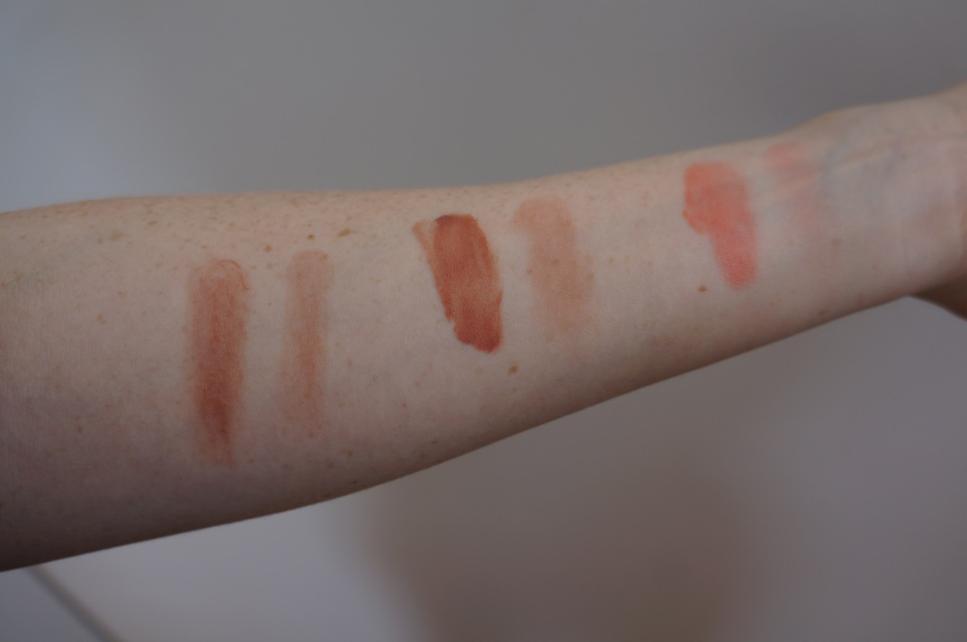 Glossier Generation G in Leo, Cloud Paint in Dusk, and Beam (swatched